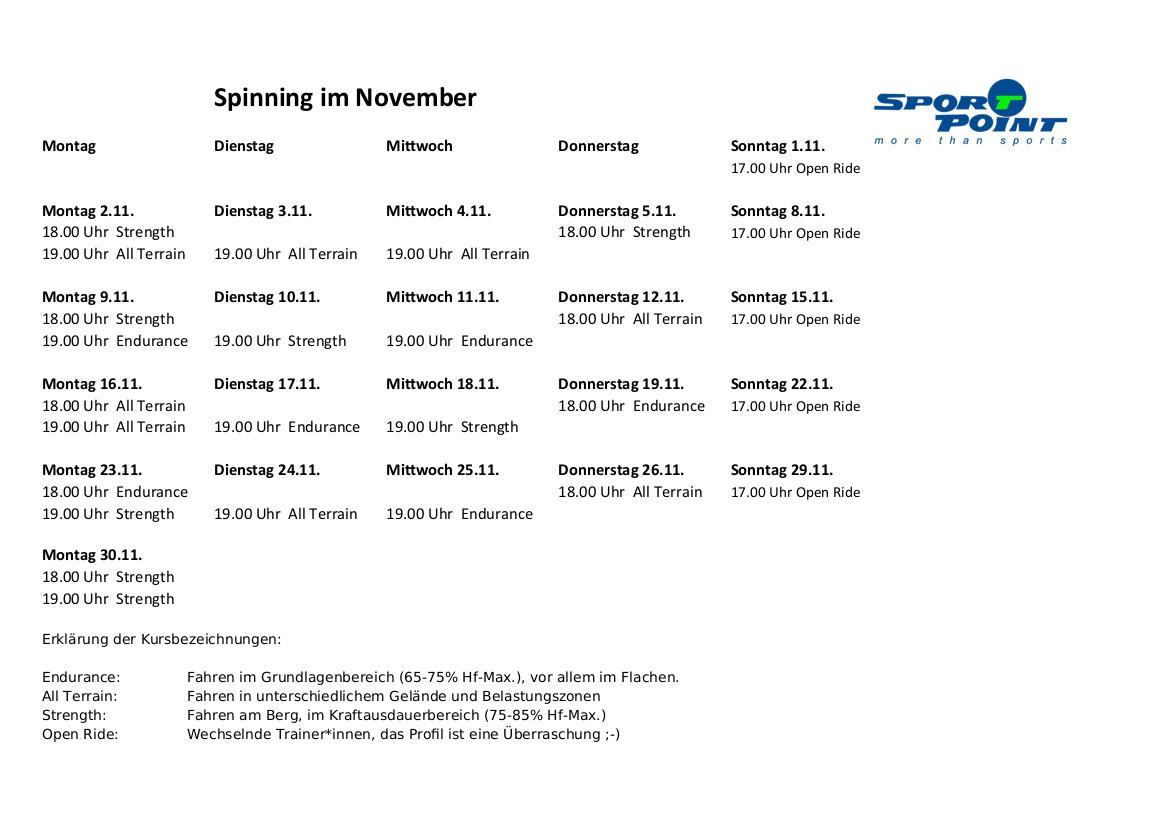 Spinningplan November 2020